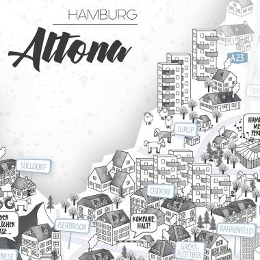 Rapü Design Bezirksposter Hamburg Altona A4