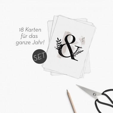 Kruth Design POSTKARTEN JAHRES SET / 18-teilig