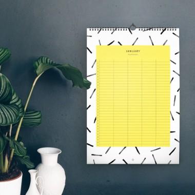 Familienkalender DIN A3 / Black & White