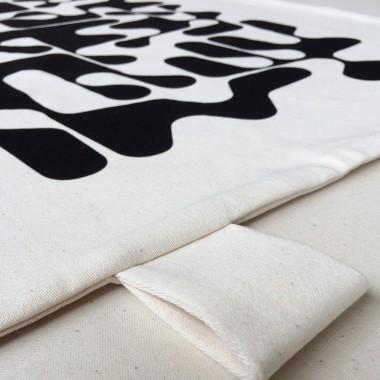 Print now - Riot later ● Sanscript Wandbehang, Stoffsiebdruck