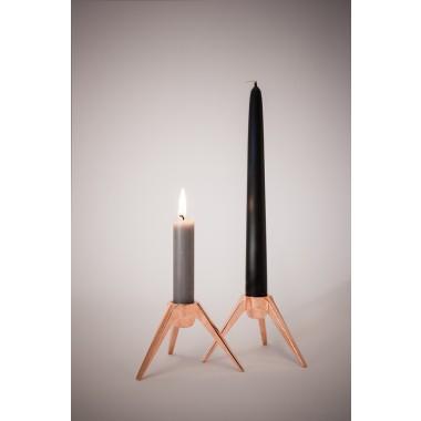 Satellite - Design Kerzenständer aus Metall - verkupfert