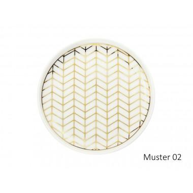 lille mus Schmuck-Tellerchen mit geometrischem Muster Weiß/Gold