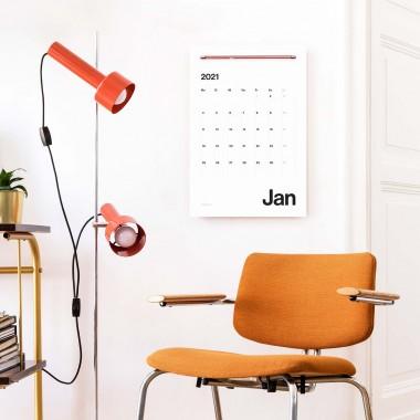 PRINT IS DEAD® 2021 Design-Wandkalender/Planer (Starter-Set: Kalenderpapier und Wandleiste), Feiertage, Mondphasen, DIN A3+, 12 Monate und Jahresübersicht.