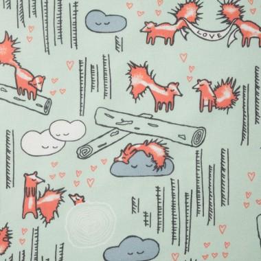 Schön, oder? Verliebte Stinktiere - Bettwäsche - 135 x 200 / 80 x 80 cm - Green Lily / Hot Moral