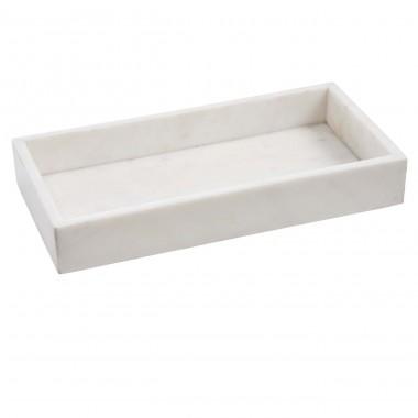 Marmortablett, rechteckig weiß