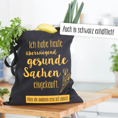 """Frau Schnobel Grafik Baumwolltasche """"Gesund"""" Natur"""