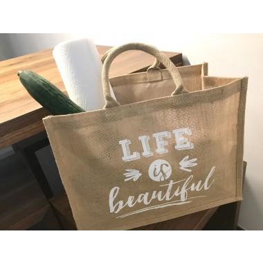 """Einkaufstasche / Shopper aus Jute """"Life is beautiful"""""""