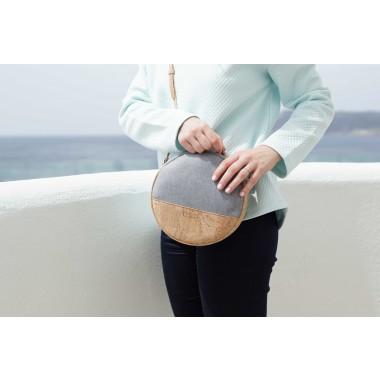 MACRA Handtasche Rund Grau Natur Kork vegan