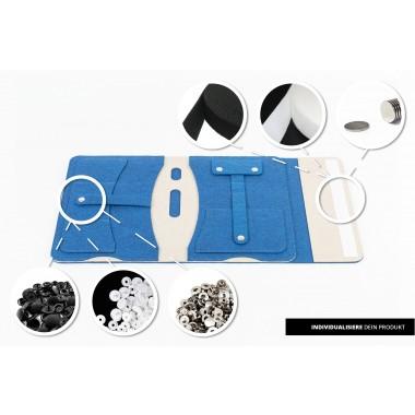 RÅVARE Tablet Organizer für kleine und mittlere Tablets ≤10.1″ mit vielen Stecklaschen, iPad, Samsung in blau-beige [KOCO M]
