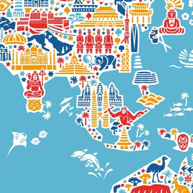 Vianina Weltkarte Poster 100 x 70