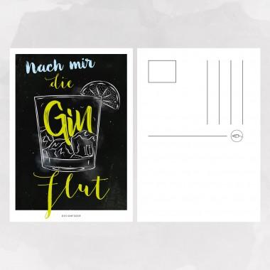 designfeder | Postkarte Nach mir die Gin-Flut