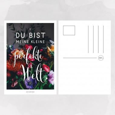 designfeder | Postkarte Du bist meine kleine perfekte Welt
