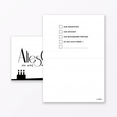 """TYPOP Geburtstagskarte """"Alles Gute zu was auch immer"""" // Klappkarte DIN A6 inkl. Umschlag"""