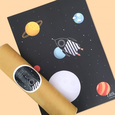 Weltraumrakete Poster A3