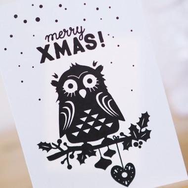 finicrafts handgedruckte Siebdruck-Klappkarte Xmas Eule mit Umschlag