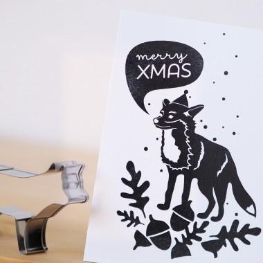 finicrafts handgedruckte Siebdruck-Klappkarte Xmas Fuchs mit Umschlag