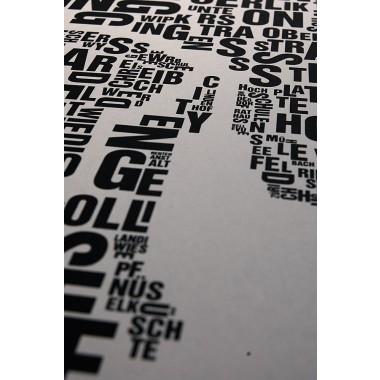 Buchstabenort Zürich Stadtteile-Poster Typografie