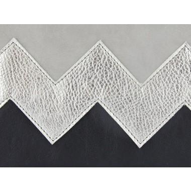 lille mus vegane Zick-Zack-Clutch ZILIA - Grau/Silber/Schwarz aus Kunstleder mit Umhängekette