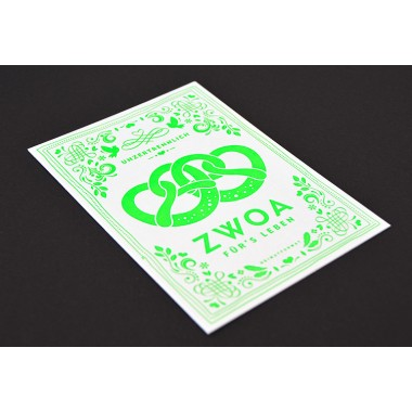 ZWOA Neon-Letterpress // inkl. Naturpapierkuvert
