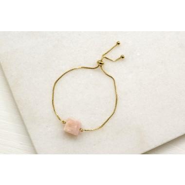 Gudbling // Pinkopal Armband aus vergoldetem Messing