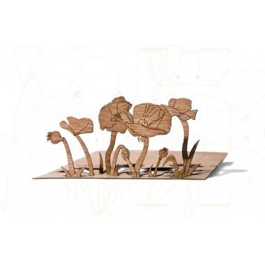 formes Berlin Mohn-Karten - 6 Postkarten aus Holz