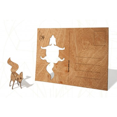 Postkarten aus Holz - 6 Fuchskarten
