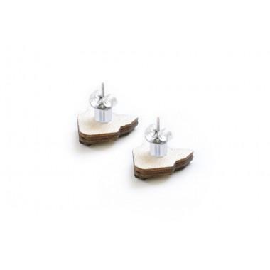 BeWooden Ohringe - Ohrstecker mit Holzdetail - Motiv Blume - Red Flower Earrings