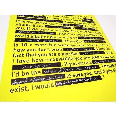 LOVE NOTE / Poster / 420 x 594 mm / Neongelb