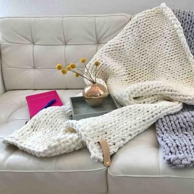 adorist. -Baumwolldecke Chunky Knit, vegan snow weiß