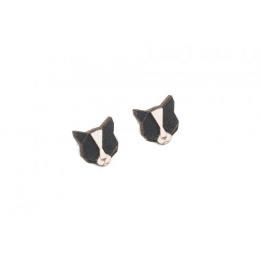 BeWooden Ohrringe - Ohrstecker aus Holz - Black Cat Earrings