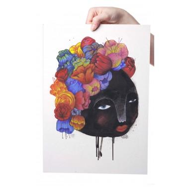 Poster »Blumenfrau« 50x70cm oder DINA3, Illustration