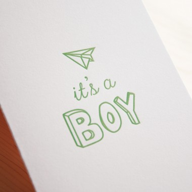 finicrafts It's a Boy Letterpress-Klappkarte mit Umschlag