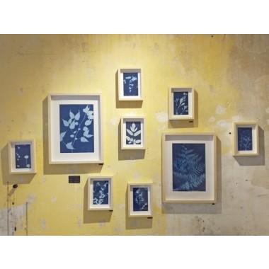 Anka Büchler, Floraler Blaudruck,Cyanotypie, Unikat, A6, gerahmt, Motiv 11