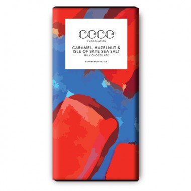 3x Coco Chocolatier Karamell, Haselnuss & Isle of Skye Sea Salz Milchschokolade (bio)