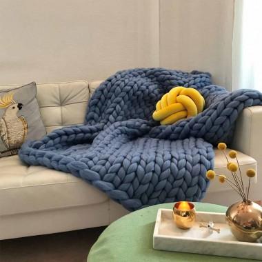 adorist. – Wolldecke Cosima Chunky Knit, rauchblau