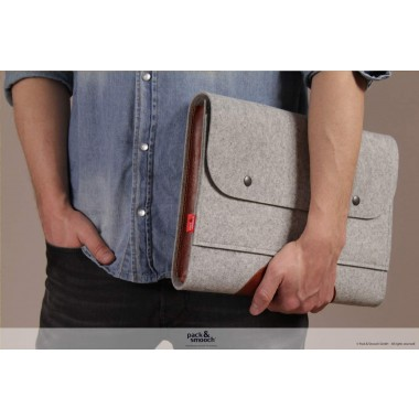 "Pack & Smooch -  iPad/MacBook Tasche ""Corriedale"" 100% Merino Wollfilz (grau meliert)"