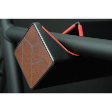 Stilvolle Design Fahrrad Wandhalterung | PARAX® D-RACK | für Rennrad, Hardtail, Cityrad & Tourenrad | Schwarz-Rot mit Kebony Holz