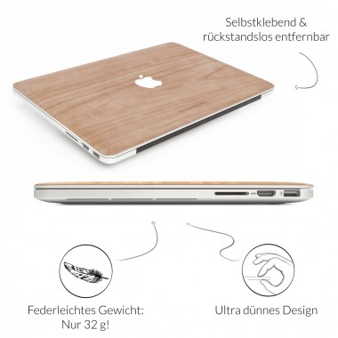 Woodcessories - EcoSkin - Design Apple Macbook Cover, Skin, Schutz für das Macbook mit Apfellogo aus FSC zert. Holz (Macbook 13 Air & Pro, Kirsche)