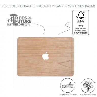 Woodcessories - EcoSkin - Design Apple Macbook Cover, Skin, Schutz für das Macbook mit Apfellogo aus FSC zert. Holz (Macbook 13 Pro Retina, Kirsche)