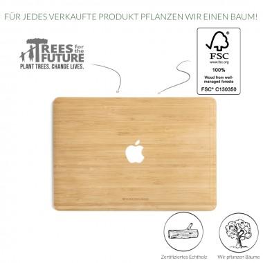 Woodcessories - EcoSkin - Design Apple Macbook Cover, Skin, Schutz für das Macbook mit Apfellogo aus FSC zert. Holz (Macbook 12, Bambus)