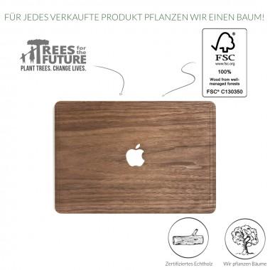 Woodcessories - EcoSkin - Design Apple Macbook Cover, Skin, Schutz für das Macbook mit Apfellogo aus FSC zert. Holz (Macbook 13 Air & Pro, Walnuss)