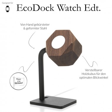 Woodcessories - EcoDock Watch Edition - Premium Design Ladestation, Dockingstation, Halterung für die Apple Watch aus FSC-zert. Holz (Walnuss)