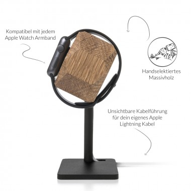 Woodcessories - EcoDock Watch Edition - Premium Design Ladestation, Dockingstation, Halterung für die Apple Watch aus FSC-zert. Holz (Eiche)