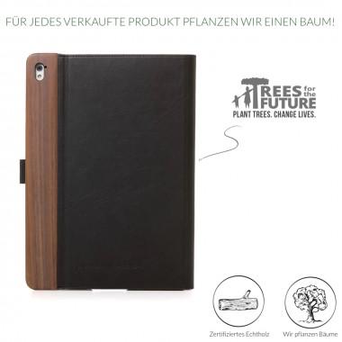 Woodcessories - EcoFlip iPad - Premium Design Case, Cover, Hülle für das iPad aus Walnuss Holz & veganem Leder m. Standfunktion (iPad Pro 9.7)