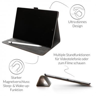 Woodcessories - EcoFlip iPad - Premium Design Case, Cover, Hülle für das iPad aus Walnuss Holz & veganem Leder m. Standfunktion (iPad Pro 10.5 (2017))