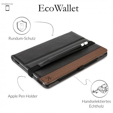 Woodcessories - EcoWallet iPad - Premium Design Case, Cover, Hülle, für das iPad aus Walnuss Holz & veganem Leder (iPad Pro 12.9 (Univ. Fit 2015/17))