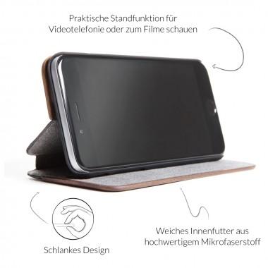 Woodcessories - EcoFlip Case - Premium Design Hülle, Case, Cover für das iPhone aus FSC zert. Holz & veganem Leder (iPhone X, Walnuss)