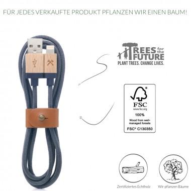 Woodcessories - EcoCable - Design Ladekabel, Kabel (Mfi Apple zert.) für Apple Lightning Produkte aus FSC-zert. Holz & Nylon (Ahorn, blau)