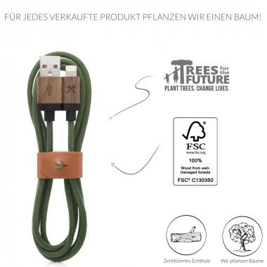 Woodcessories - EcoCable - Design Ladekabel, Kabel (Mfi Apple zert.) für Apple Lightning Produkte aus FSC-zert. Holz & Nylon (Walnuss, grün)