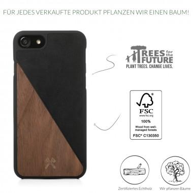 Woodcessories - EcoCase Split - Premium Design Hülle, Case, Cover für das iPhone aus FSC zert. Holz (iPhone 7/ 8, Walnuss/Schwarz, Ahorn/Blau, Kirsch/Grün)